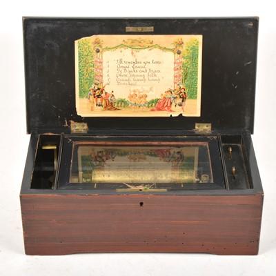 Lot 97 - A Swiss mechanical cylinder music box, playing six airs.