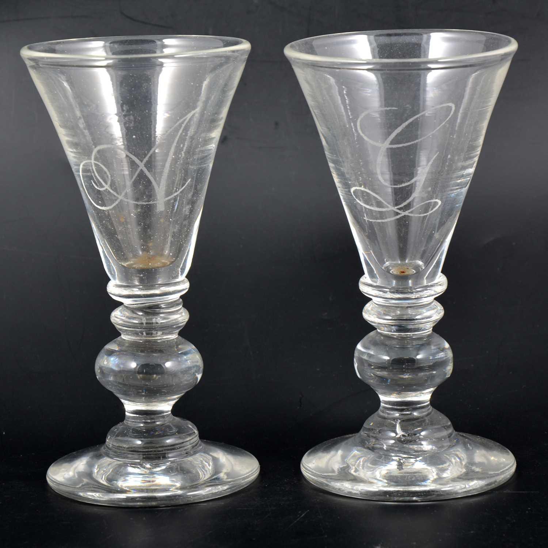 Lot 2 - Pair of 20th Century wine glasses.