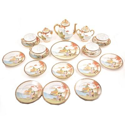Lot 28 - A Japanese egg-shell type porcelain teaset.