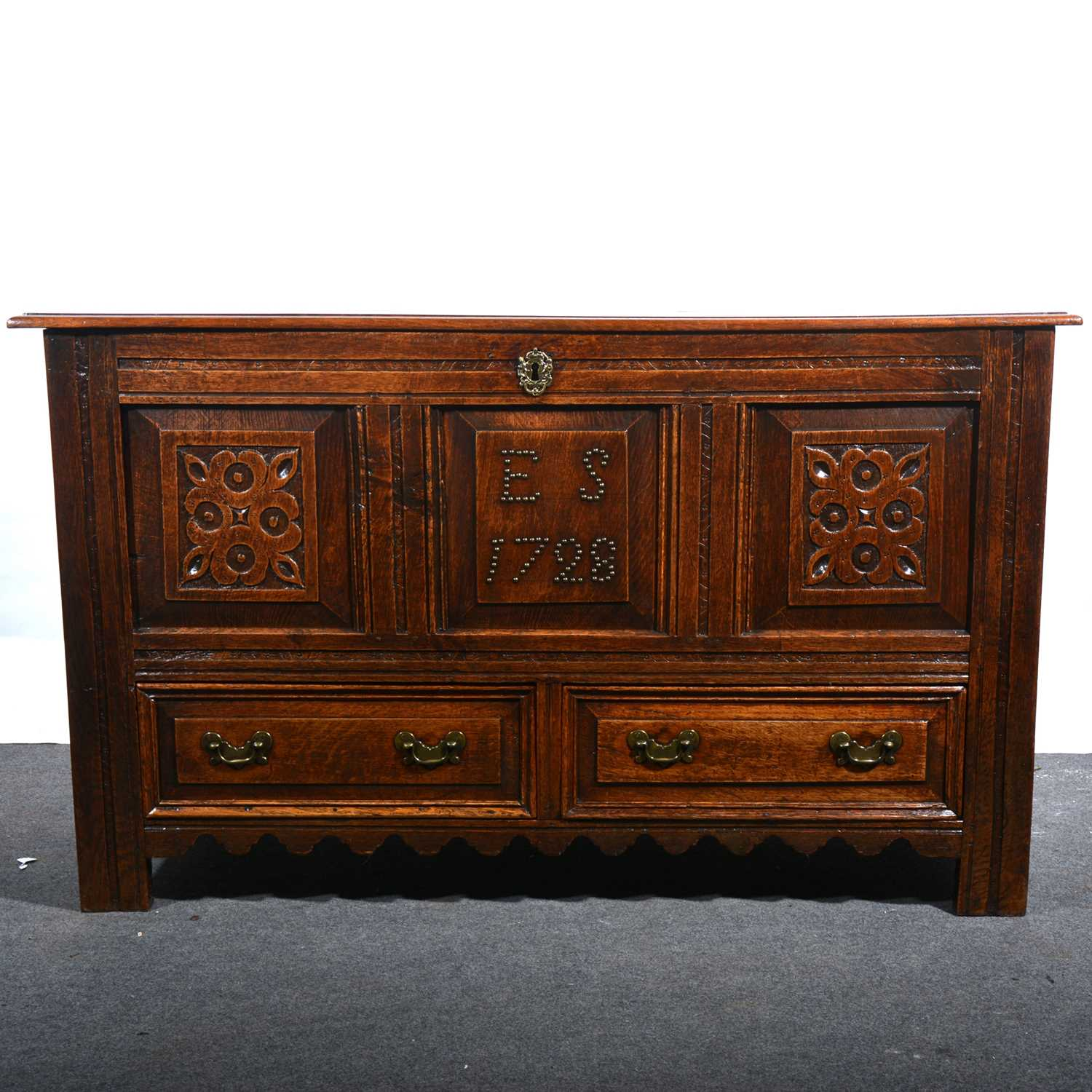 Lot 5 - A joined oak mule chest, dated 1728.