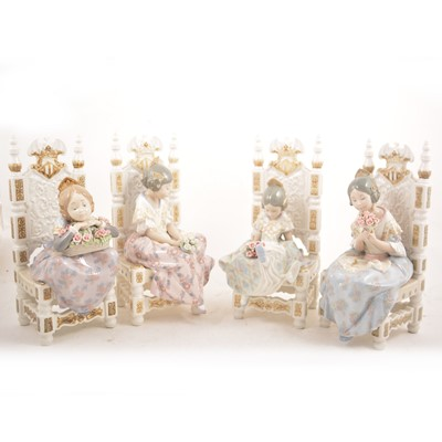 Lot 2 - Lladro - Four figures of girls on seats