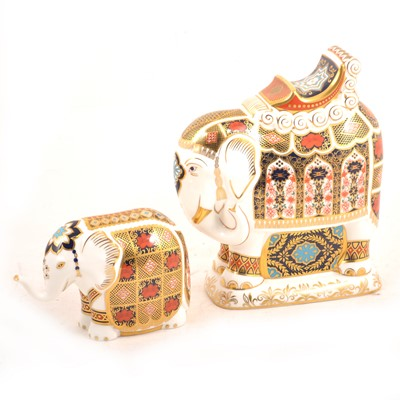 Lot 11 - Two Royal Crown Derby Imari elephant paperweights.