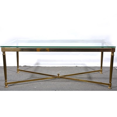 Lot 25 - A modern brass finish and plate glass coffee table.