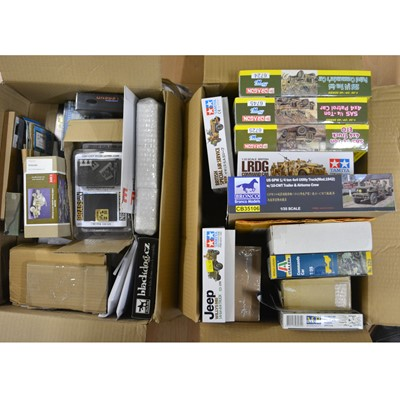 Lot 17 - Two boxes of military scale model kits; including Tamiya 1:35 scale LRDG Command Car