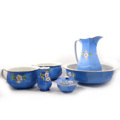 Lot 53 - Crown earthenware six-piece toilet set.