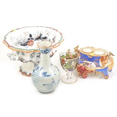 Lot 64 - A quantity of decorative ceramics including Asian stoneware bottle vase, deskstand, etc