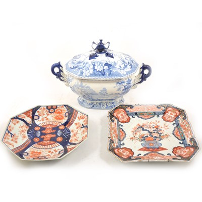 Lot 40 - A Staffordshire blue and white transfer printed tureen, and two Imari plates.