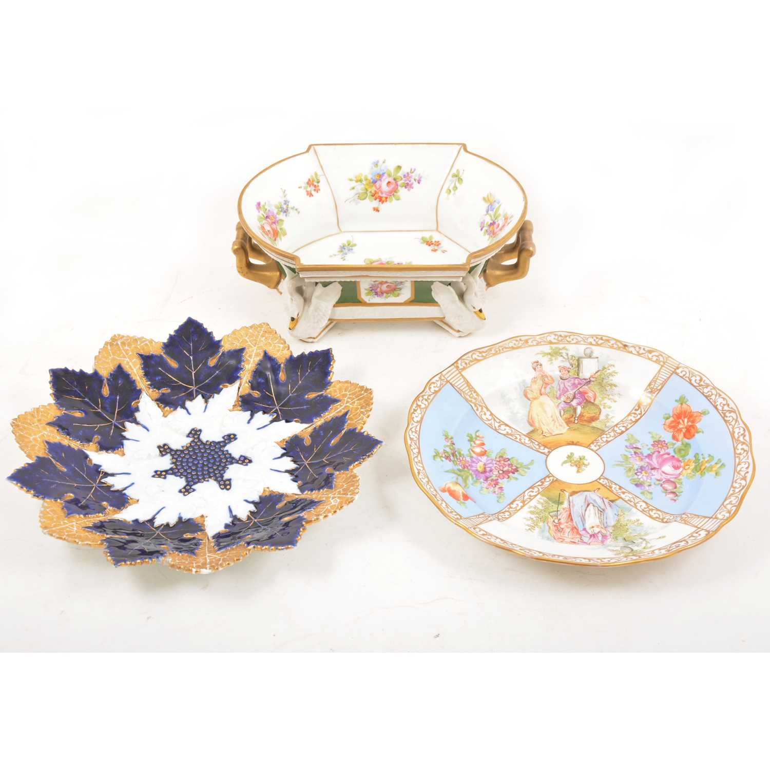 Lot 57 - Two Meissen cabinet plates and a Continental centre bowl