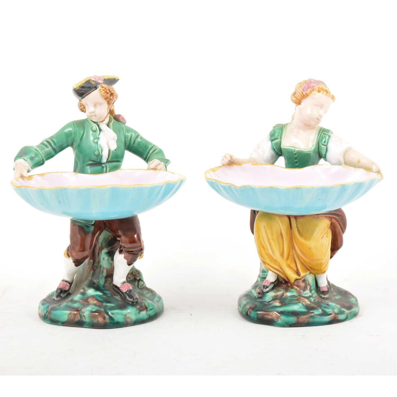 Lot 7 - A pair of Minton Majolica figural salts.