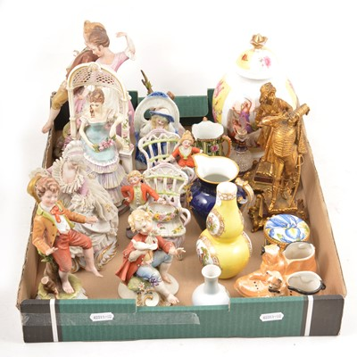 Lot 93 - A quantity of Continental figures, vases, etc