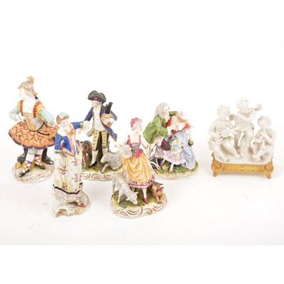 Lot 30 - Six Continental porcelain figural groups