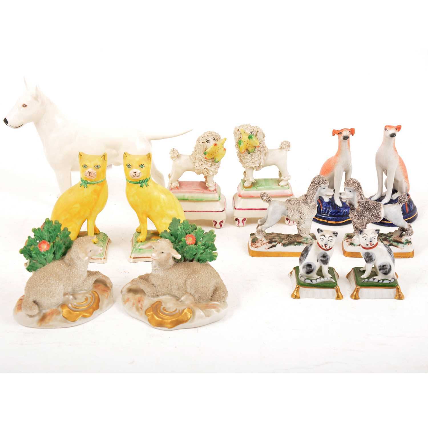 Lot 36 - Selection of Staffordshire dogs and other animal figures