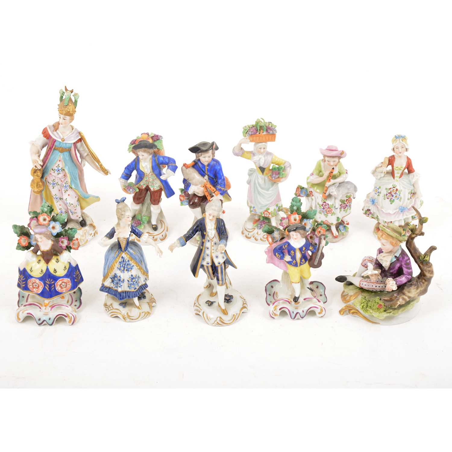 Lot 37 - A collection of Continental porcelain figures, including Sitzendorf