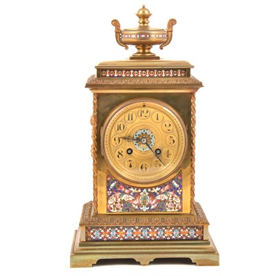 Lot 115 - A 19th Century French brass and champleve enamel mantel clock.