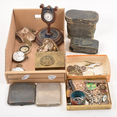 Lot 100 - A selection of silver, white metal and other metal objects, to include pocket watches, table lighter, opera glasses etc.