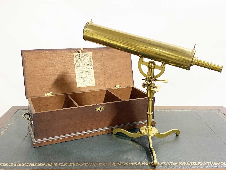 Lot 99 - A mid-18th century 2 ¾ inch Gregorian reflecting telescope, signed John Bird, London.