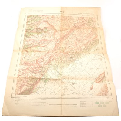 Lot 111 - A quantity of paper and canvas-printed maps, to include Middle East, War Office issues etc.