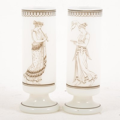 Lot 61 - A pair of opaline glass cylindrical vases by B & J Richardson