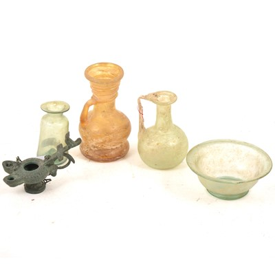Lot 85 - Roman type glassware, and a patinated metal Roman style oil lamp