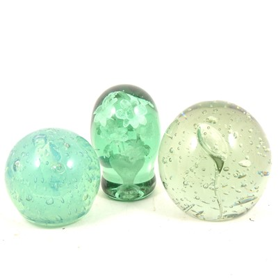 Lot 84 - Three large glass end of day dump paperweights