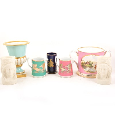 Lot 89 - A large Staffordshire twin handled commemorative jug, and other decorative jugs and vases