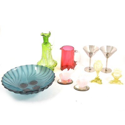 Lot 90 - Mary Gregory style green glass jug and other Victorian and vintage glassware.