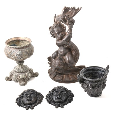 Lot 110 - A collection of metal wares, to include pewter plates, metal jardiniere, bust, bells etc.