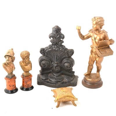 Lot 112 - A box of metal wares, to include busts, furniture mountings, plaques etc.