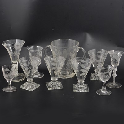 Lot 30 - A small collection of Jacobean inspired table glassware, 20th century.