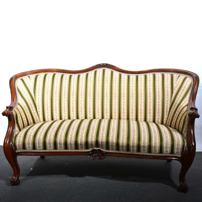 Lot 37 - A Victorian walnut framed sofa.