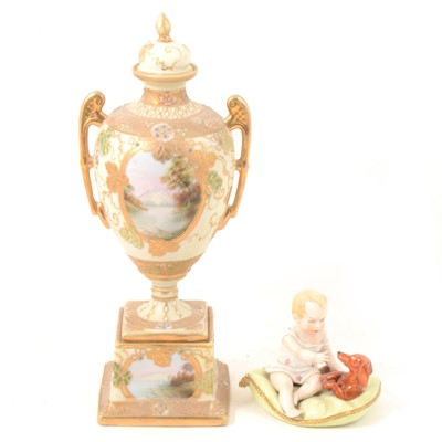Lot 37 - Sitzendorf model of child with puppy; and Noritake twin-handled pedestal vase.
