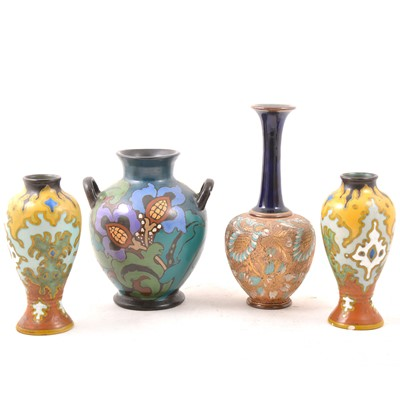 Lot 33 - Doulton Lambeth Slaters stoneware vase, and three other pottery vases.