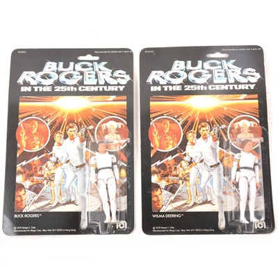Lot 22 - Buck Rogers and Wilma Deering Mego Corp figures, in blister-packs.