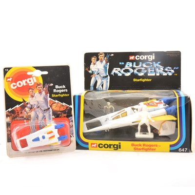 Lot 32 - Corgi Toys, no.647 Buck Rogers Starfighter and a Juniors Starfighter, both cased.