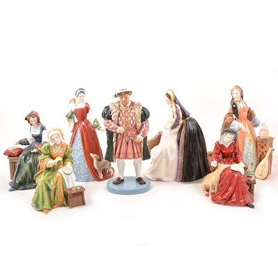Lot 31 - Royal Doulton figures of King Henry VIII and his wives.