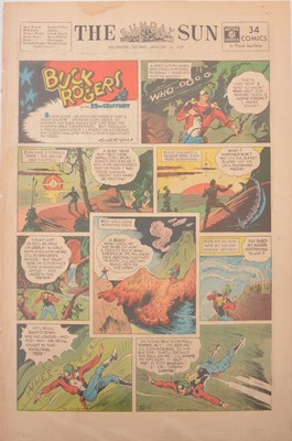 Lot 38 - Three folders of Buck Rogers newspaper comic pages The Sunday Sun Baltimore 1934-1937