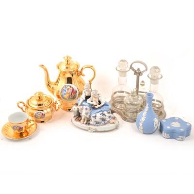 Lot 17A - Assorted decorative ornaments, coffee set, cruet, etc.
