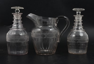 Lot 4 - Two Regency glass decanters and a jug