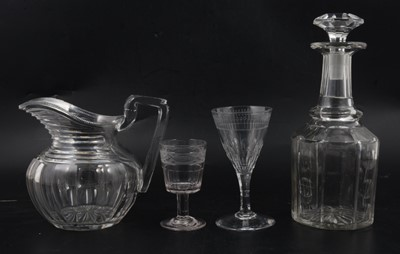 Lot 23 - Victorian glass decanter, Regency jug and two wine glasses.
