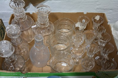 Lot 25 - A pair of Regency style mallet-shape decanters, plus other decanters and wine glasses.