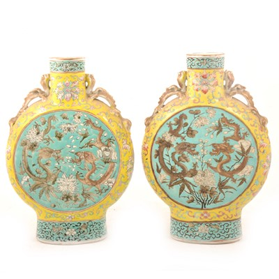 Lot 13 - Pair of Chinese famille verte moon flasks, Qianlong style.