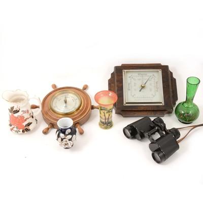 Lot 62 - Two aneroid barometers, pair of binoculars and assorted ceramics.