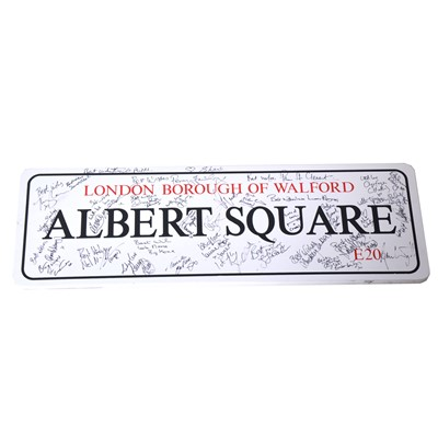 Lot 9 - EastEnders signed Albert Square E20 wooden sign