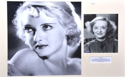 Lot 7 - Bette Davis, signed photo, 24 x 18cm, mounted and framed
