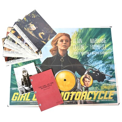 Lot 10 - Girl on a Motorcycle (1968) quad poster, original release script, etc.