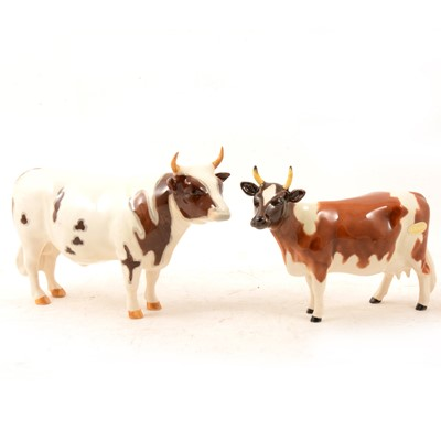 "Lot 3 - A Beswick Ayrshire Ch. ""Whitehill Mandate"" Bull and Ch. ""Ickham Bessie"" Cow."