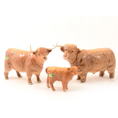 Lot 5 - A Beswick Highland Bull, Cow and Calf models.