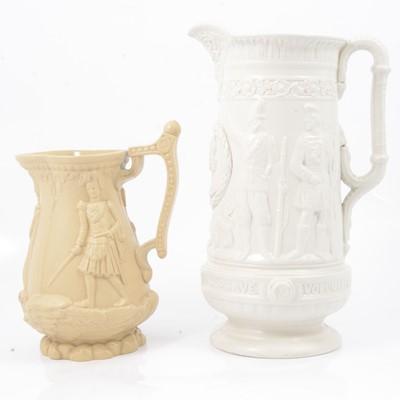 Lot 41 - Stoneware Three Soldiers jug and a Loyal Volunteers jug