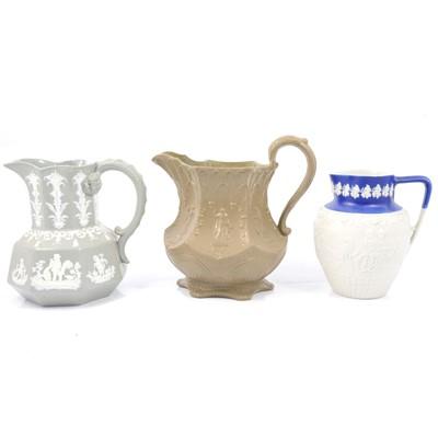 Lot 47 - Stoneware Gothic jug a Hunt jug and an 'Oriental' jug