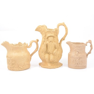 Lot 57 - Stoneware Toby Filpott & Johnnie Souter jug, Falstaff jug and a Stag Hunt jug